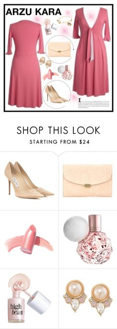 """ARZU KARA"" by gaby-mil ❤ liked on Polyvore featuring Jimmy Choo, Mansur Gavriel, Elizabeth Arden, Benefit, Carolee, Alex and Ani, dress and arzukara"