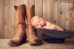 Newborn photo, cowboy, boots, hat, baby boy, rustic, country.