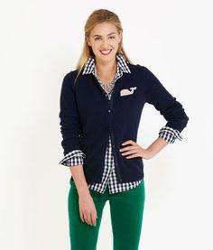 Womens Cardigan Sweaters: Cashmere Intarsia Cardigan Sweater for Women