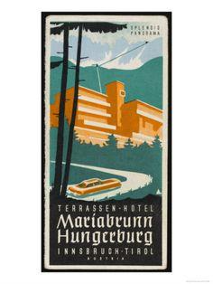 Art Deco Label Fron the Terrassen Hotel Mariabrunn Hungerberg Innsbruck Austria Giclee Print