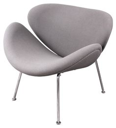 Slice Upholstered Lounge Chair - Gray - Accent Chairs at Hayneedle
