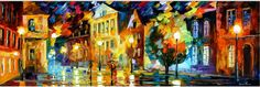 "NIGHT SQUARE — original PALETTE KNIFE Oil Painting On Canvas By Leonid Afremov - Size 40""x14"""