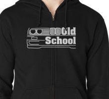E30 Old School - White Kapuzenpulli mit Reißverschluss