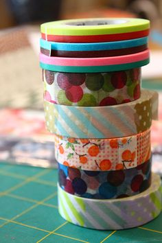 washi tape ~ So many beautiful, colorful . just really any theme or color you would want ! Work perfect to cover up things, add to a frame that the wrong color, wrap around jar or vase to pop some color in an area . Mt Tape, Masking Tape, Tapas, Fun Arts And Crafts, Diy Crafts, Diy Plaster, Duct Tape Crafts, Paper Mask, Decorative Tape