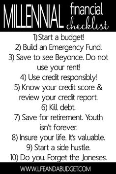 Regardless of whether you're in your 20's or 30's, you're ready to get your financial life in order and I'm here to help you. Here are 10 things that should be on every millennials financial checklist to ensure they reach financial freedom. Pin this, read this, and get your finances together.