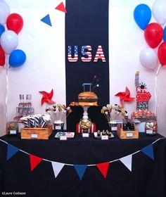 Une sweet table pour un anniversaire sur le thème des Etats-Unis