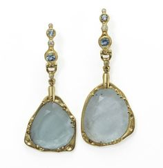 earrings in with white diamonds and aquamarine slices, by Audrius Krulis. Jewelry Gifts, Fine Jewelry, Jewellery, Birthstones By Month, Aqua Marine, Old World, Sculptures, Drop Earrings, White Diamonds