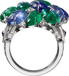 CARTIER. Ring - platinum, carved sapphires and emeralds, emerald beads, cabochon-cut sapphires, brilliant-cut diamonds.#Cartier #CartierMagicien #HauteJoaillerie #FineJewelry #CarvedStones #TuttiFrutti