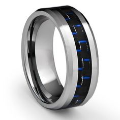 8MM Men's Tungsten Carbide Ring Wedding Band with Black and Blue Carbon Fiber Inlay (Available in Sizes 8 to 16) Cavalier Jewelers. $24.95. Genuine Tungsten Carbide (Cobalt Free). Comes in an elegant ring box. 1 year warranty. 60-day money back guarantee. Comfort Fit Design