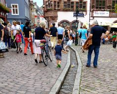 Freilburg, Germany next to the Black Forest..Freiburg boy with boat