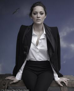 Dark Knight of the soul: Marion Cotillard is stunning in gothic photo shoot ahead of the release of her Batman adventure - fashion beauty Marion Cotillard Style, Marion Cottilard, Parisian Chic Style, Business Portrait, Adventure Style, French Actress, The Hollywood Reporter, White Shirts, French Fashion