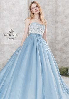 by Hardy Amies London / Cinderella Stunning Dresses, Beautiful Gowns, Elegant Dresses, Pretty Dresses, Colored Wedding Dress, Blue Wedding Dresses, Prom Dresses, Ball Gowns Fantasy, Fantasy Dress