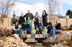 large group pose, Love the idea of the adults in black/brown for fall pictures and the kids in BRIGHT colors :)) Great idea!