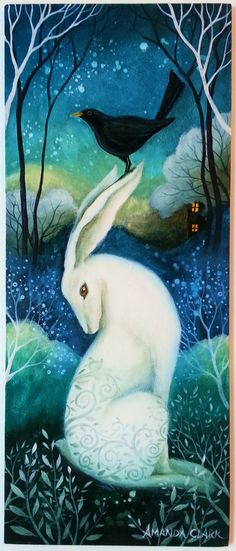 The beautiful artwork by an English artist Amanda Clark. Landscape paintings reminiscent of fairy tales and jewel like colours of the countryside. Wicca, Pagan, Art And Illustration, Clark Art, Rabbit Art, Bunny Art, Angel Art, Beautiful Artwork, Oeuvre D'art