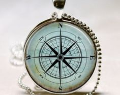 Nautical Compass Necklace, Compass Rose, Wind Rose, Nautical Jewelry, Sailor's, Mariner's, Ship, Ocean Art Pendant with Ball Chain Included