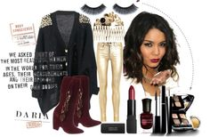 """GOLD MIXED WITH BLACK I LIKE THE MOST"" by bigladybird ❤ liked on Polyvore"