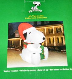 Snoopy Holding a Christmas Tree Inflatable Holiday Yard Decor NEW