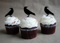 12 Raven Cupcake Toppers Acrylic by ThroughThickandThin on Etsy, $15.00