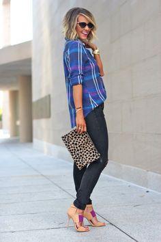 Courtney Kerr / plaid shirt, skinny jeans, leopard print [more at pinterest.com/azizashopping]