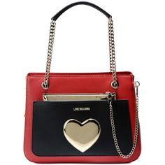 Love Moschino Handbag ($275) ❤ liked on Polyvore featuring bags, handbags, red, white hand bags, white purse, multi colored handbags, multi colored purses and red handbags