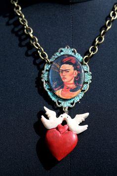 Frida Kahlo with Monkeys Necklace by DetroitDollface on Etsy