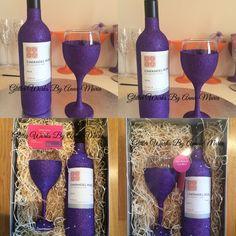 Glitter Wine Bottle & Wine Glass. #CadburyPurple #glitter #Rose #Wine #Gift #Birthday #HouseWarming #Weddings #Boxed #Delivery