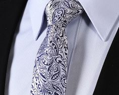 "TF1013B7 Navy Blue Silver skinny floral 2.75"" 100%Silk Woven Slim Skinny Narrow Men Tie Pocket Square Suit Set"
