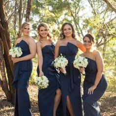 A Guide To Bridesmaids Dresses. Picking bridesmaids gowns is no simple job, but it is among the most interesting and typically the most emotional parts of the wedding planning proc Navy Blue Bridesmaid Dresses, Navy Bridesmaid Dresses, Bridal Dresses, Navy Wedding Colors, Bridal Party Robes, Embellished Gown, Blue Bridal, Wedding Styles, Wedding Ideas
