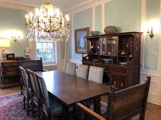 Traditional dining room in our customer's home with our antique French Louis XIII chairs. The set of six antique French dining chairs dates to 1900 and the chairs were bought from our EuroLuxHome.com website by our customer Stephen. The Louis XIII chairs are carved in walnut wood. The blue damask upholstery is a great way to add a dash of elegant color to a Traditional dining room.    #antiques #furniture #diningchair #diningroom #homedecor #chair #interiordesign French Dining Chairs, Antique Dining Tables, Antique Chairs, Antique Furniture, Traditional Dining Room Furniture, Reproduction Furniture, Walnut Wood, French Antiques, Damask