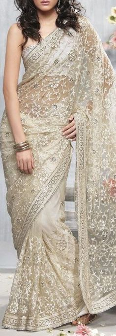 Beautiful Beige #Lace #Saree <3