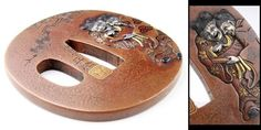 "C001 Edo Meiji Japanese Antique Signed TSUBA of Katana ""Hanshan"""
