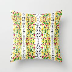 Cherry Blossom Flowers Watercolor Throw Pillow by Henry Martinez LLC - A playful, abstract, ink and watercolor rendering of cherry blossoms and leaves cascading through an atmosphere of sunshine, sparkle, and air. $20.00