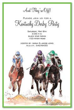 Invite friends to a derby party with this Kentucky derby style invitation featuring racing horses with riders. Perfect for derby themed party invitations or inviting guests to a day at the derby. Horse Racing Party, Derby Horse Race, Cowboy Party, Home Stretch, Derby Day, Kentucky Derby, Party Invitations, Easter Invitations, Invite