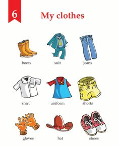 English Lesson Grade 1 My Clothes English Book, English Words, English Lessons, English Grammar, Learn English, English Language Learning, Language Lessons, Teaching English, English Activities