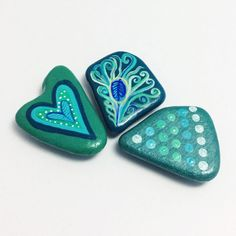 Magnets Hand Painted Sea Pottery Peacock Feather by turquoiseeye