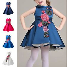 Kids Girls Flower Embroidered Formal Party Wedding Pageant Princess Tutu Dress