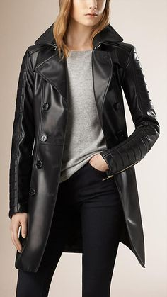 Leather Hubb Womens New ZELAND Lambskin Walking Leather Long/Trench Coat Overcoat Jacket Black Small ** Visit the image link more details. (This is an affiliate link) Burberry Trench Coat, Long Trench Coat, Long Overcoat, Black Leather Blazer, Burberry Women, Blazer Outfits, Winter Coats Women, Wearing Black, Best Leather Jackets