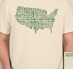 Celebrate our National Parks with this great T-Shirt featuring all 59 National Parks! by NationalParkPosters on Etsy https://www.etsy.com/listing/186464415/celebrate-our-national-parks-with-this