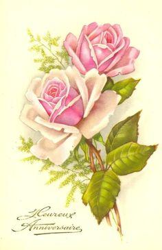 Pink roses vintage antique postcard image for shabby chic decoupage art. Art Vintage, Decoupage Vintage, Vintage Cards, Vintage Postcards, Vintage Flowers, Vintage Images, Vintage Floral, Decoupage Art, Decoupage Printables