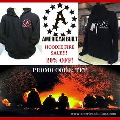 It's HOODIE season at American Built USA HQ in Idaho and we've got you covered! Back in stock just in time for gathering 'round the campfire, these styles are selling like wildfire! Don't get left out in the cold, grab yours now with our special PROMO CODE: TFT to receive 20% OFF + FREE SHIPPING! www.americanbuiltusa.com  #americanbuilt #americanbuiltusa  #hoodies  #firesale  #campfire  #wildfire  #stitchedinthestates  #madeintheusa  #veteranowned #veteranownedbusiness #toysfortots…