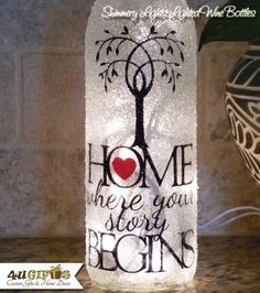 Home Where Your Story Begins Lighted Wine Bottle Decorated Recycled Wine Bottles, Wine Bottle Art, Glass Bottle Crafts, Painted Wine Bottles, Lighted Wine Bottles, Bottle Lights, Bottles And Jars, Perfume Bottles, Decorated Wine Bottles