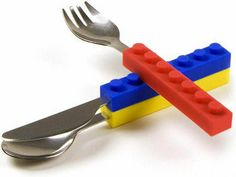 Lego knife, fork and spoon set- they interlock too!