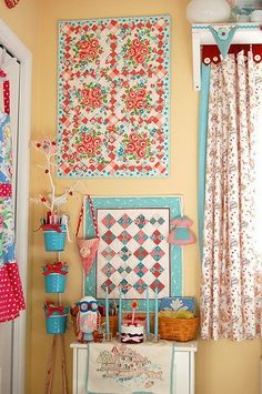 retro kitchen blue red color kitsch - a bit floral for my taste but still cute