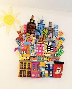 notre village 6ème, travail en ilots (6 ou 8) Our Cityscape! Acrylic paint, Cardboard, Paintchip, Cityscape, Group Art Projects