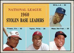 1961 Topps,  1960 National League Stolen Base Leaders,  Baseball Cards That Never Were. Maury Wills, Los Angeles Dodgers, Willie Mays, San Francisco Giants, Tony Taylor, Philadephia Phillies, Vada Pinson, Cincinnati Reds.