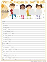 """Print out this """"questionnaire"""" for your child to fill in, and use an empty jar or shoebox as your """"time capsule."""""""