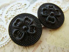 Antiqued Czech Glass Black Four Leaf Clover Rope Embossed Buttons 28mm Round - 2 by Alyssabeths on Etsy