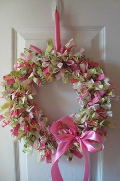 Watermelon Fabric Rag Wreath- Pink and lime green $25.00