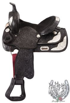 "13"" Black Show Saddle- Floral Tooling (Loaded with Silver) by Royal King #RoyalKing"