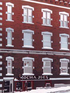 "Wiliam Hays, Eight-color linocut print of downtown Brattleboro, Vermont landmark, Mocha Joe's coffee shop, entitled ""Mocha Morning"""